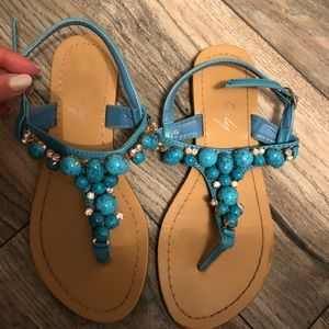 Shoes - Blue sandals with stones